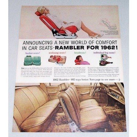 1962 Rambler Comfort In Car Seats Color Print Car Ad