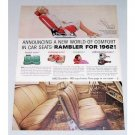 1962 Rambler Comfort In Car Seats Color Print Car Ad