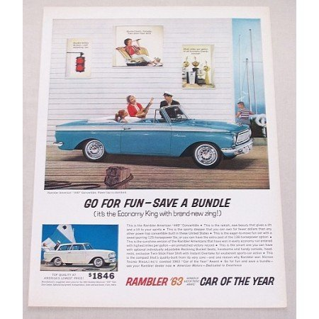 1963 Rambler American 440 Convertible Automobile Color Print Car Ad