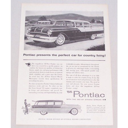 1955 Pontiac 4 Door Automobile Vintage Print Car Ad - Country Living