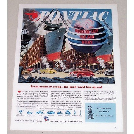 1945 Pontiac Campbell Art Vintage Color Print Ad - From Ocean To Ocean