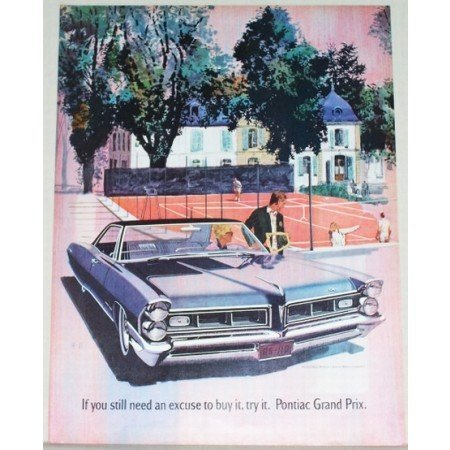 1965 Pontiac Grand Prix Automobile Color Tennis Art Print Car Ad
