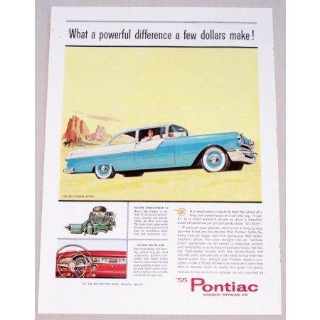 1955 Pontiac 860 2 Door Sedan Automobile Color Print Car Ad