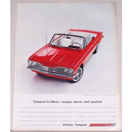 1962 Pontiac Tempest Le Mans Convertible Automobile Color Print Car Ad