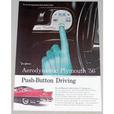 1956 Plymouth Areodynamic Push Button Driving Color Print Car Ad