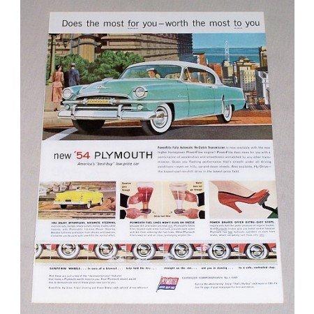 1954 Plymouth Belvedere 2 Door Hardtop Automobile Color Print Car Ad