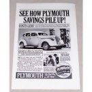 1937 Plymouth Deluxe Touring Sedan Automobile Vintage Print Car Ad