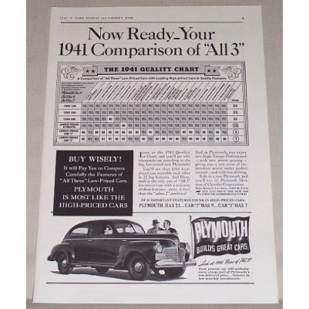 1941 Plymouth Sedan Automobile Vintage Print Car Ad - 1941 Comparison Of All 3