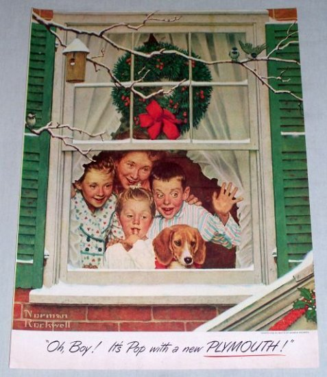 1951 Plymouth Norman Rockwell Color Christmas Art Print Ad
