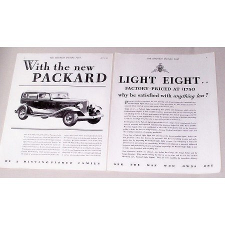1932 Packard Light Eight Five Passenger Sedan Automobile Vintage Print Car Ad