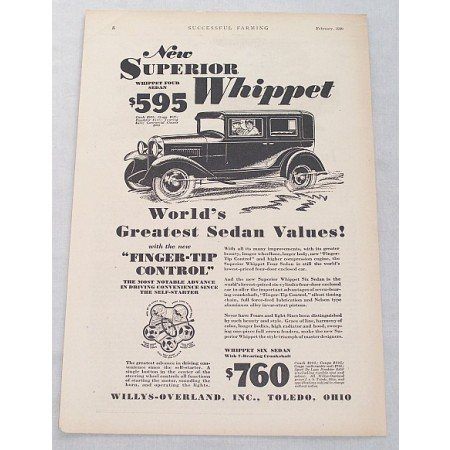 1929 Willys Overland Whippet Four Sedan Automobile Vintage Print Car Ad