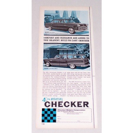 1962 Checker Marathon Automobile Color Print Car Ad 40th Anniversary