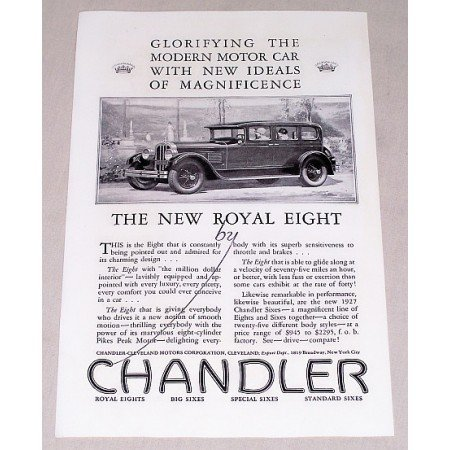 1927 Chandler Royal Eight Automobile Vintage Print Car Ad - Glorifying