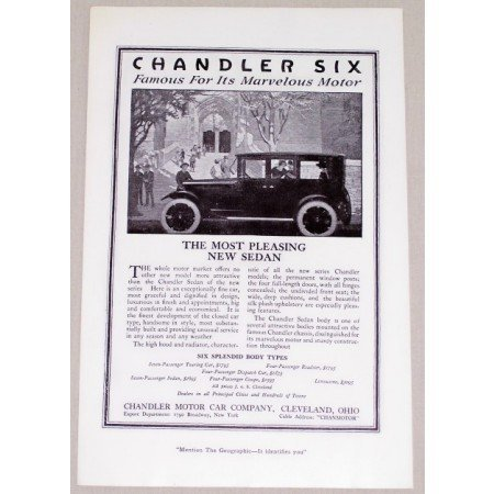 1919 Chandler Six Sedan Automobile Vintage Print Car Ad - Most Pleasing