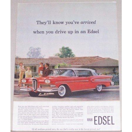 1958 Edsel Citation 2 Door Hardtop Automobile Color Print Car Ad