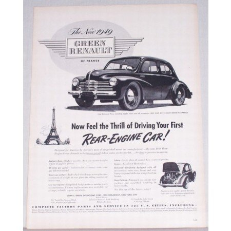 1949 Green Renault Of France Automobile Vintage Print Car Ad