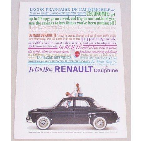 1959 Renault Dauphine Automobile Color Print Car Ad - Le Car Hot
