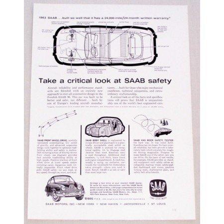 1962 Swedish Saab 96 Automobile Vintage Print Car Ad - Saab Safety