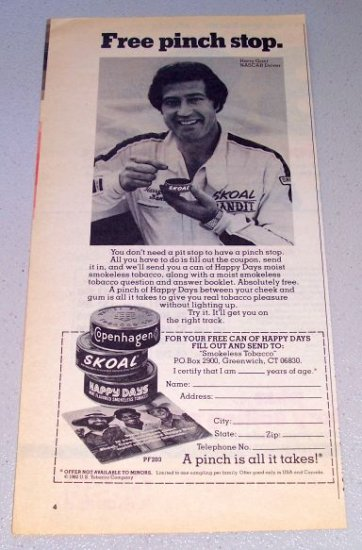 1982 Skoal Copenhagen Happy Days Tobacco Print Ad Celebrity Nascar Driver Harry Gant