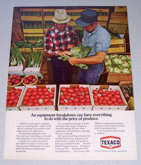1973 TEXACO Vintage Color Print Ad Vegetable Stand