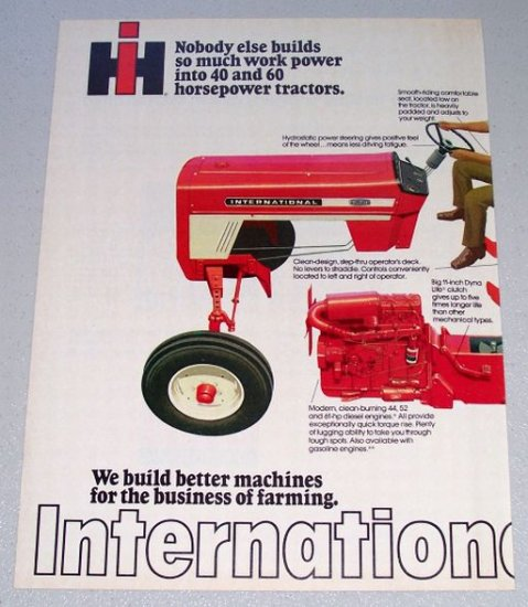 1973 IH INTERNATIONAL HARVESTER 574 Farm Tractor Vintage 2 Page Color Print Ad