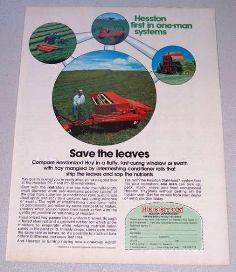 1973 HESSTON PT-7 PT-10 Windrowers Farm Implements Vintage Color Print Ad