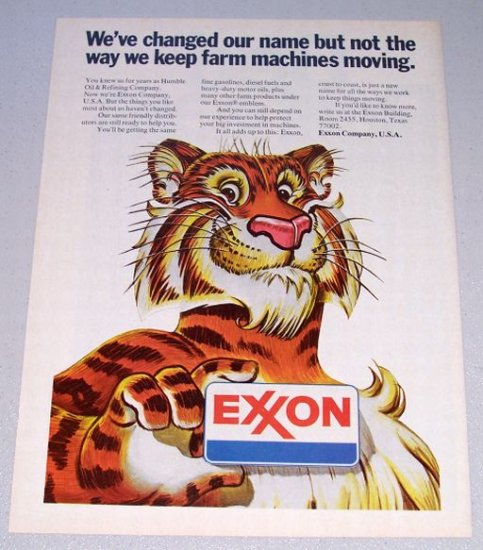 1973 EXXON Company Tiger Animal Art Vintage Color Print Ad