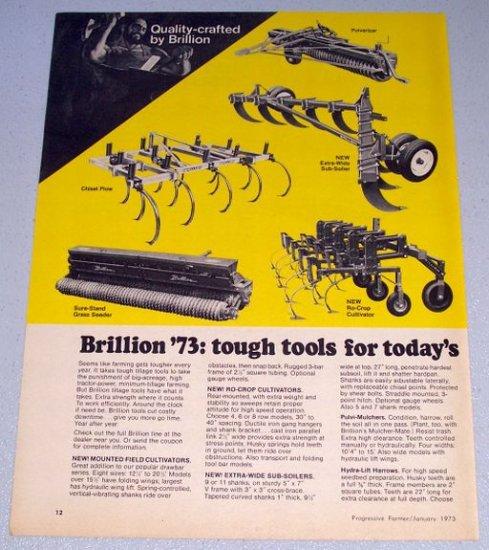1973 BRILLION Farm Implements Vintage 2 Page Color Print Ad