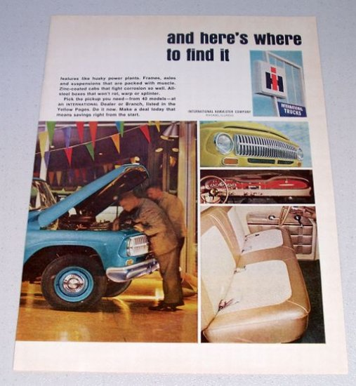1966 IH INTERNATIONAL Pickup Truck 2 Page Color Print Ad