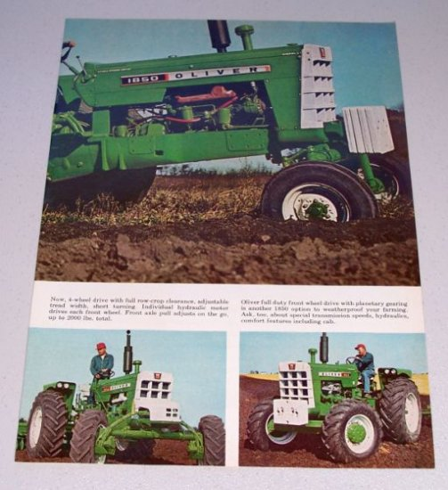1966 OLIVER 1850 Diesel Farm Tractor 2 Page Color Print Ad