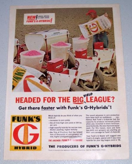 1966 FUNK'S G Hybrid Seeds Color Print Ad McCormick International Seed Sower