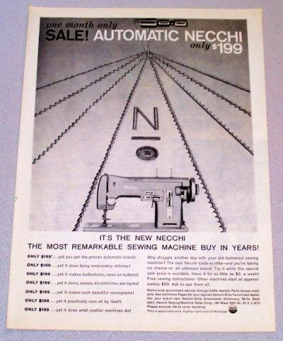 1958 NECCHI Sewing Machine Print Ad