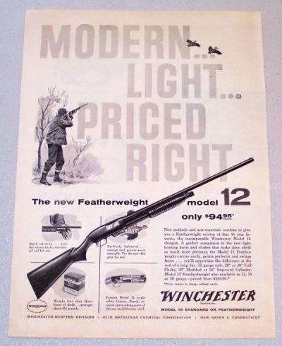 1958 WINCHESTER Featherweight Model 12 Shotgun Print Ad