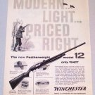 1958 WINCHESTER Featherweight Model 12 Shotgun Print Ad