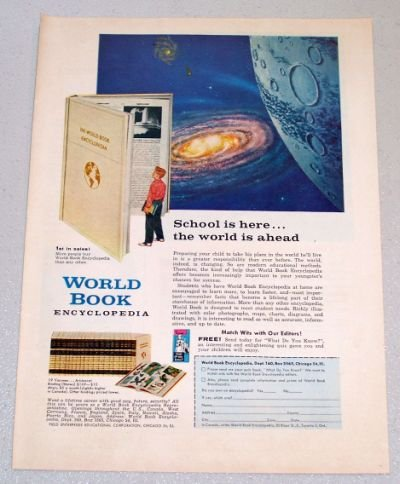 1958 World Book Encyclopedia Outer Space Art Color Print Ad
