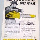 1958 McCULLOCH Mac D30 Power Chain Saw Print Ad