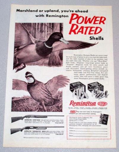 1958 REMINGTON Power Rated Shells Hunting Duck Bird Art Print Ad