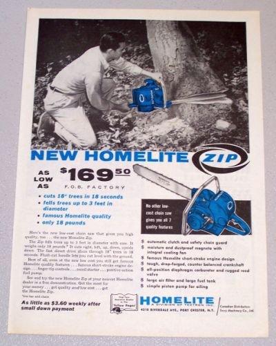 1958 HOMELITE Zip Power Chain Saw Print Ad