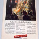 1956 WESTERN ELECTRIC Telephone Firefighter Fire Art Color Print Ad - Rugby Lost Its Voice