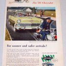 1956 CHEVROLET Two-Ten Sedan Automobile Motorcycle Police Art Car Ad