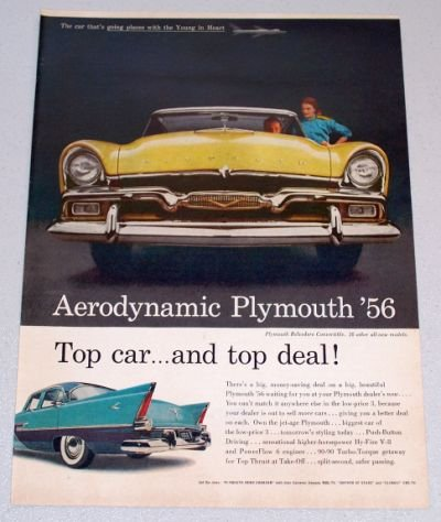 1956 PLYMOUTH Belvedere Convertible Automobile Color Print Car Ad