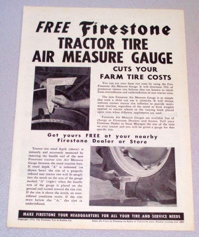 1956 FIRESTONE Tractor Tire Air Measure Gauge Print Ad