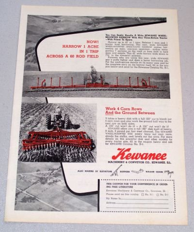1956 KEWANEE Wheel Mounted Spike Tooth Harrow and Disk Farming Implements Print Ad