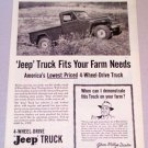 1956 Willys JEEP 4 Wheel Drive Truck Print Ad