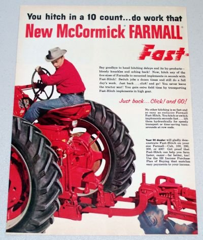 1956 IH INTERNATIONAL HARVESTER Fast Hitch Farm Tractors 2 Page Color Print Ad