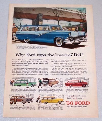 1956 FORD Parklane Station Wagon Automobile Print Car Ad