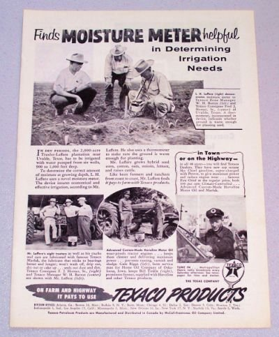 1956 TEXACO Products Moisture Meter Print Ad