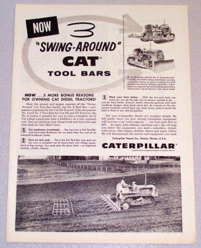 1956 CATERPILLAR Swing Around Tool Bars Print Ad