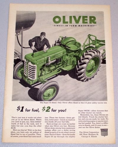 1956 OLIVER Super 55 Diesel Farm Tractor Color Art Print Ad