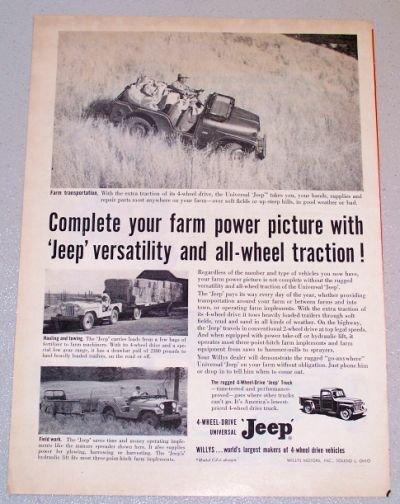 1956 Willys Universal JEEP Transportation Print Ad
